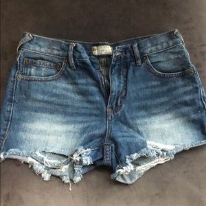 Free People Dark Wash Distressed Jean Shorts